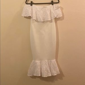ASOS white scuba dress with lace, off the shoulder